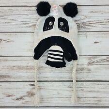 Panda Bear Girls Hat & Mitten 2 Piece Set Pom Pom Knit Earflap Hat Beanie