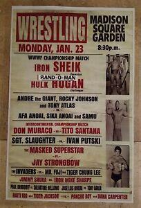 "Wrestling Poster WWWF Championship Iron Sheik vs Hulk Hogan ""Hogan Wins Belt"""