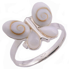 Ring Butterfly Shiva Eye And  Sterling Silver 925 Size.US=8 UK=P.Adjustable