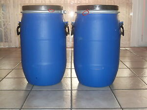 2x 30 Liter Gepäcktonne Kunststoffass mit Deckel und Griffen Weithalsfass