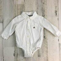 Gap Baby Long Sleeve White Oxford Dress Shirt Button Down Bodysuit Boys 6 12 M