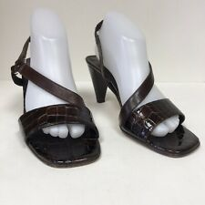Brighton Womens Size 9 1/2 M Slingback Heels Open Toe Brown