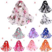 Fashion Women Chiffon Peach Blossom Printing Long Wrap Scarf Shawl Scarves