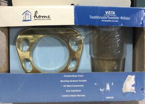 Toothbrush Tumbler Holder Home Impressions Vista BRASS Metal Holder & Glass New