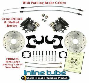 "FORD 9"" Rear Axle End Disc Brake Conversion Kit Large Bearing New Torino Cross"