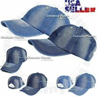 New Denim Cotton Baseball Cap Adjustable Hat Casual Plain Solid Adjustable Men's