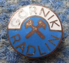GORNIK RADLIN POLAND FOOTBALL VOLLEYBALL SWIMMING 1970's SILVER ENAMEL PIN