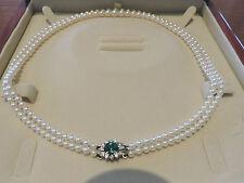 Akoya Pearls $7,690 AAA 18k Diamonds 0.40cts & 6.5 mm Emerald