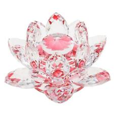 Baoblaze Crystal Lotus Flower Crafts Paperweights Glass Feng Shui Decor Red