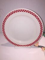 Homer Laughlin Restaurant Ware White W/ Red CheckerBoard Border Dinner Plate