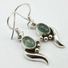 """925 Sterling Solid Silver Natural GREEN APATITE WORM Earrings 1.3"""" ONLINE BUY"""