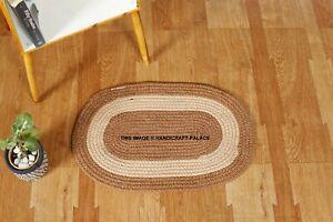 """Indian Door Mat Hand Braided Floor Mat Cotton Room Floor Carpet Mat Brown 23*15"""""""