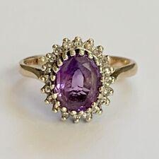 Vintage 9ct Gold Amethyst Diamond Ring Size L  US 5.75 Hallmarked 3.39g