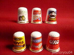 Set of 6 Advertising Oxo,Hovis,Bisto,Walkers, (Gold Gilded) Collectors Thimbles