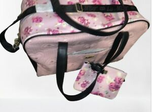Betsey Johnson Weekender Travel Bag Pink Floral Roses + Matching Crossbody NEW