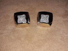 BVLGARI EARRINGS (£8700 new) 18k White Gold Pyramide Diamonds
