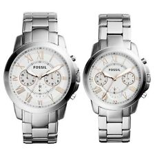 NEW & authentic Fossil Grant Chronograph Stainless Steel Watch couple Set bq2180