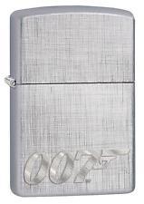 Zippo Windproof James Bond 007 Lighter, Linen Weave Engraved, 29562, New In Box