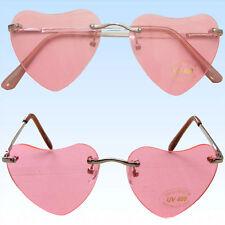 2 x Randlose Herzbrille Brille in Herzform Rosa Unisex Valentinstag Liebesbrille