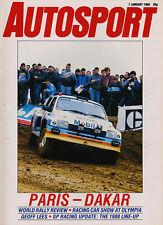 Autosport 7 Jan 1988 - Paris Dakar Rally, Survey World Rally Championship, F1