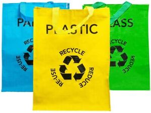 Set of 3 Large Multicoloured Heavy Duty Reusable Recycle Bags 53L with Handles