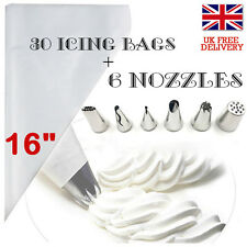 30pcs Pastry Piping Icing Bag Disposable 6 GRASS Nozzles Tip Cupcake Decorate UK