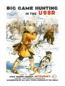 """Soviet Russian Vintage Travel Poster Print HUNTING IN USSR 18x24"""" #TR10"""