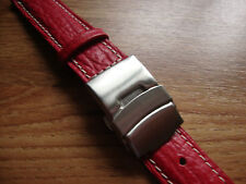 Mens 18mm LICO CINTURINI Red  Sharkgrain Watch Strap, 18mm S/S Deployment Buckle