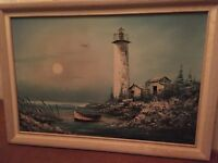 Everett Woodson Oil on Canvas Lighthouse Seascape Boat Painting