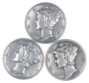 Lot of 3 AU/Unc 1943, 1945-S, 1944-S Mercury Dimes 90% Silver Collection *365