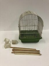 Vintage GREEN BIRDCAGE metal plastic canary finch mid century modern decor