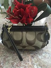 Authentic Coach Khaki Carly Large Signature Wristlet Handbag Purse EUC