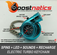 Boostnatics Rechargeable Electric Turbo Keychain Ring - Sounds & LED - Blue V5