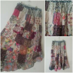 Vintage Boho Multicoloured Patchwork Indian Maxi Skirt Size 16 Peasant Prairie