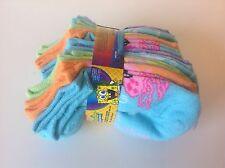 SPONGE BOB SQUARE PANTS girls no-show socks - 10 pairs - shoe size small 4-7.5