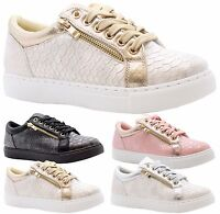 Ladies Womens Flats Skater Plimsolls Sneakers Lace Up Pumps Trainers Shoes Size