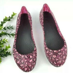 Crocs Carlisa Pink Leopard Ballet Flats Women's size 11 Slip-On Casual Shoes