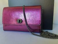 NWT $195 Coach Metallic Leather Turn-Lock Chain CrossBody Wallet Clutch In Berry