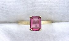 14Kt REAL Yellow Gold 8x6 Emerald AAA Pink Tourmaline Gemstone Gem Ring Size 6.5