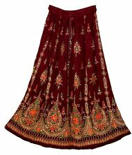 Womens Indian Sequin Long Skirt Hippie Boho Vtg Broomstick Gypsy Ethnic Crinkle