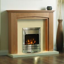 """ELECTRIC OAK CREAM SILVER FIRE 2KW FLAME FLAT WALL SURROUND FIREPLACE SUITE 48"""""""