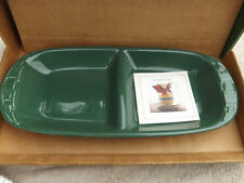 Longaberger Pottery Green Divided Serving Tray New in Box