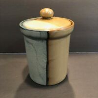 """Sango Gold Dust Green 5.25"""" Tall Coffee Canister #5040 Green and Brown Stoneware"""