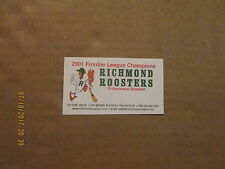 Frontier league baseball ebay frontier league richmond roosters 2001 champions logo baseball business card colourmoves