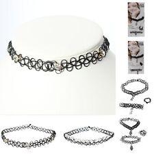 Tattoo Halsband Armband 3er Set Ring Strass Perlen Hand Love Gothic Choker