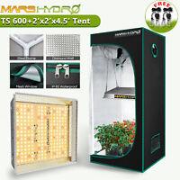 Mars Hydro TS 600W LED Grow Light Full Spectrum+2' x 2' Indoor Tent Flower Kits