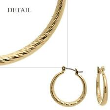 20mm Gold Tone Surgical Steel Post Hollow Hoop Textured Earrings