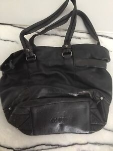 Mimco Leather Black Bag With Straps Pre Owned In Good Condition Pd $400