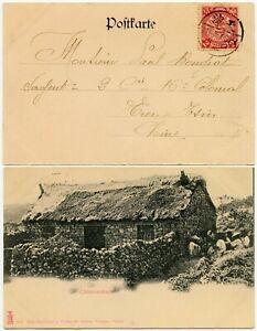 CHINA 1902 PPC COILING DRAGON CHINESE HOUSE TSINGTAU 2c USED TIENTSIN