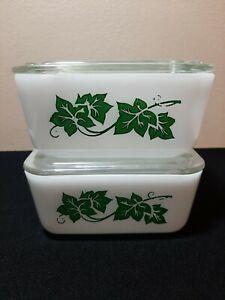 "Set 2 Vintage GLASBAKE Refrigerator Dish GREEN IVY Design 4x5"" J-258 1 pt"